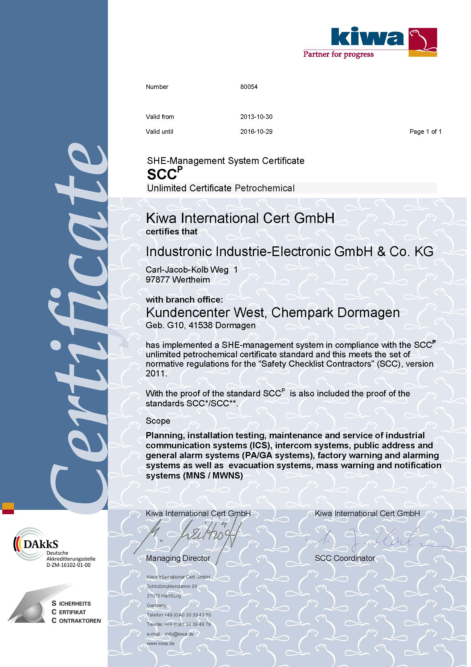 Industronic now certified according to the scc standard scc certification a gain in safety xflitez Images