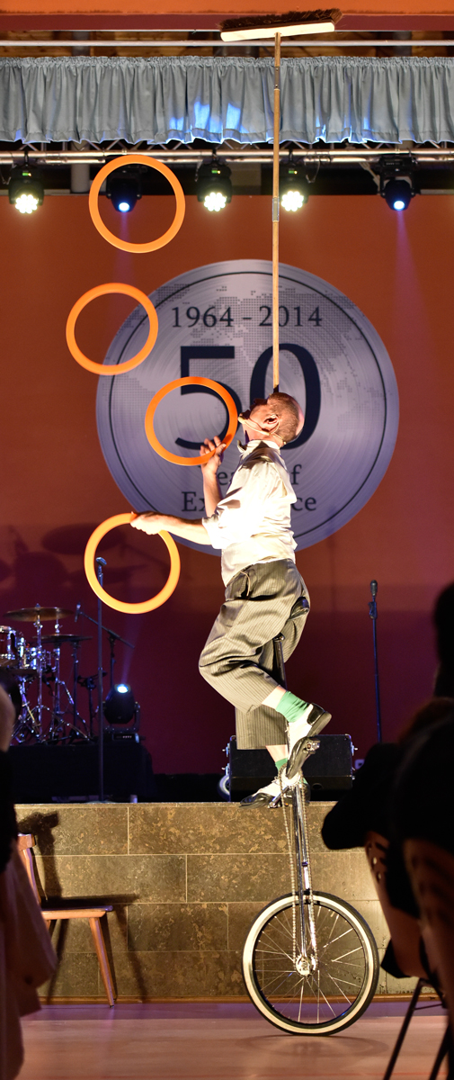 Comedian Schorsch Bross on his unicycle