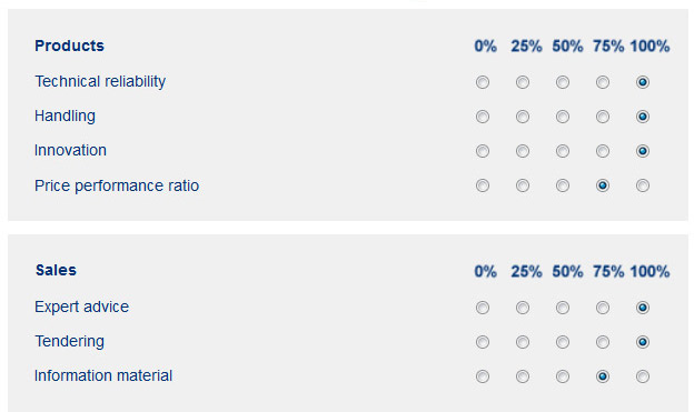 Example of the customer satisfaction survey from the INDUSTRONIC corporate homepage