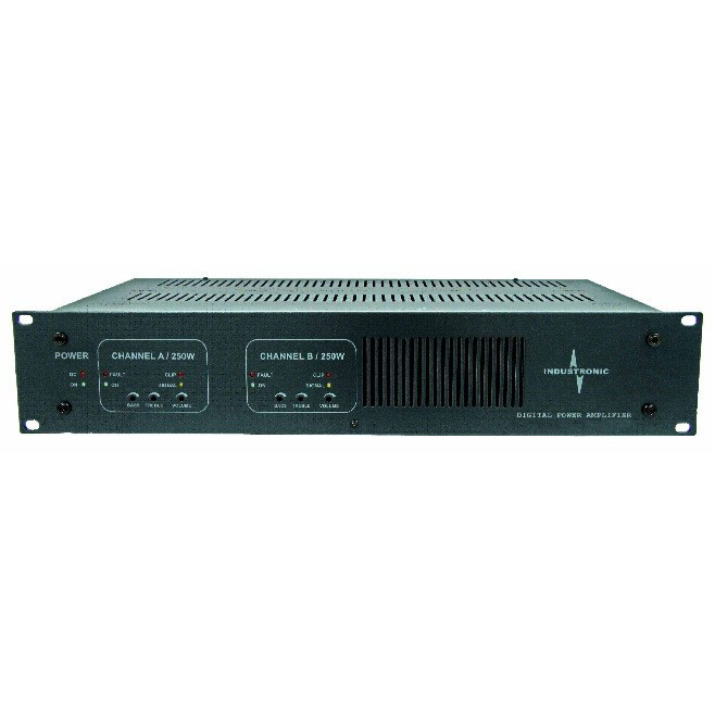 Digital Power Amplifier with 2 x 250 W 100 V continuous output and up to 7 kHu audio bandwidth with digital input