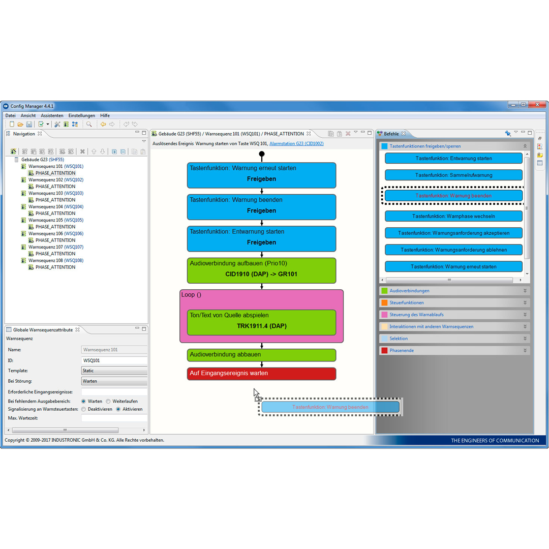 Configuration Software for visual representation, checking and evaluation of INDUSTRONIC system