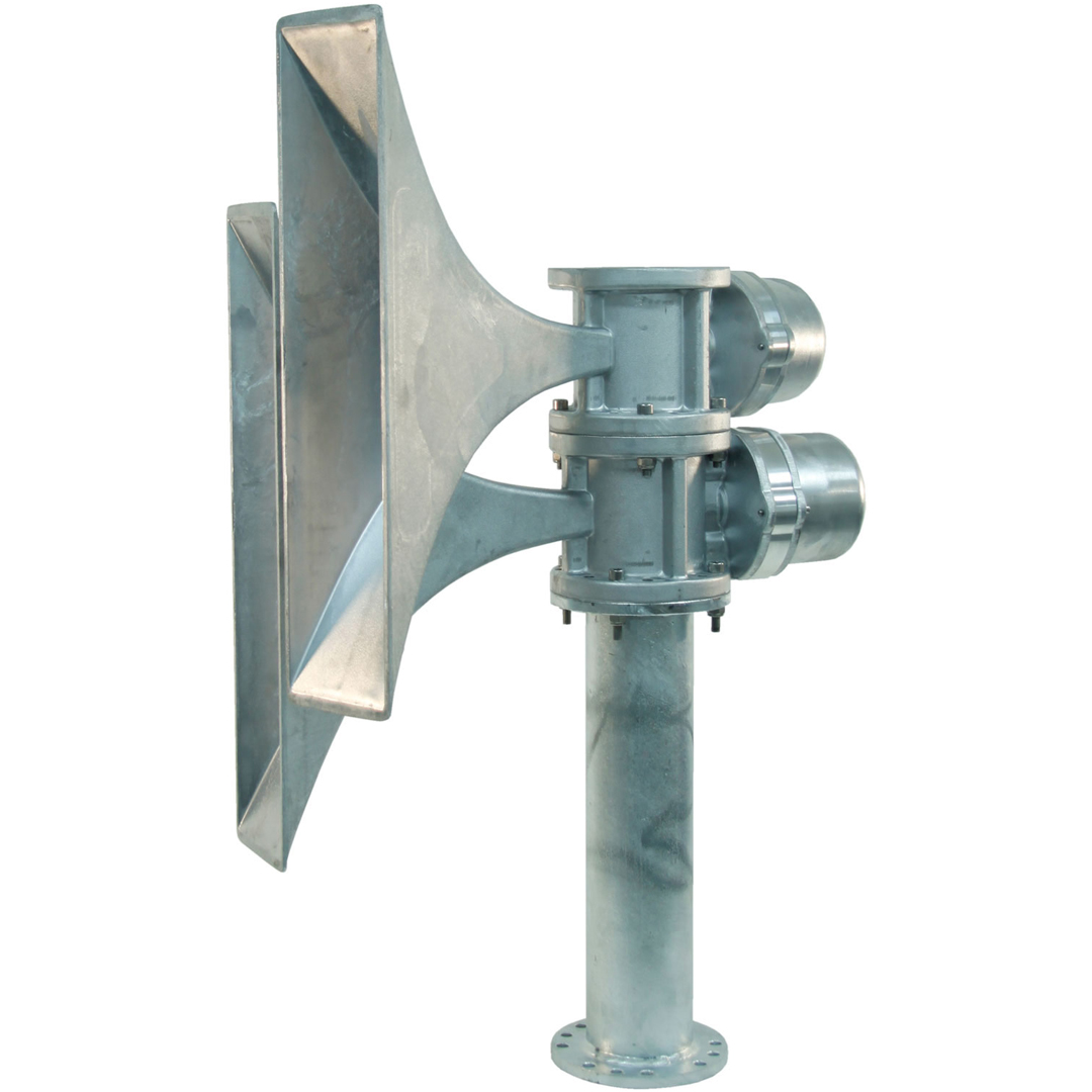 Acoustic Siren Horn for use in outdoor areas with wide audio bandwidth for broadcasting of speech and alarm tones